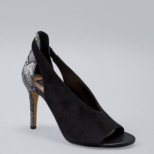 White House Black Market Suede Snake Embossed Pump